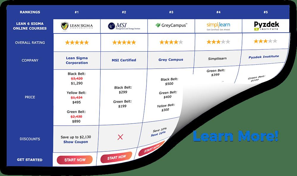 Best Lean Six Sigma Course Chart